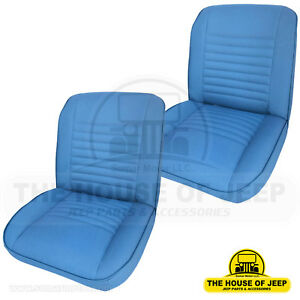 Set Front Low Back Bucket Seat Oem Material Blue Levis Jeep Cj5 cj7 1955 1979