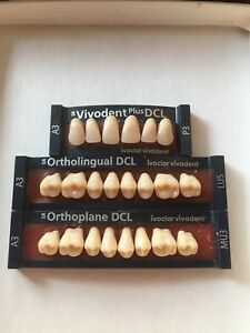 Ivoclar Vivadent Ortholingual Dcl 3 Cards Of Teeth A3 For Dental Lab Materials
