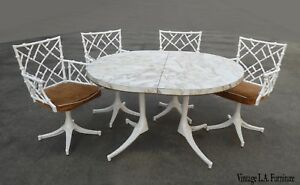 Vintage Mid Century Modern White Swivel Chippendale Chairs Table Cast Iron