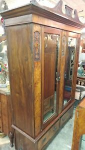 Large Antique Wardrobe Carved Wood And Burl Wood Beautiful