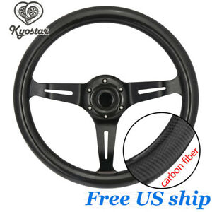 14 Inch Carbon Fiber Steering Wheel Cover Black Spoke Deep Dish Universal New