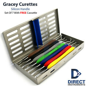 Dental Gracey Curettes Silicone Handle Periodontal Root Canal 7pcs Cassette Box
