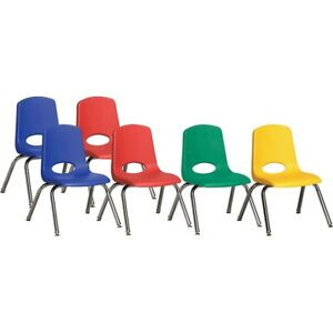 Ecr4kids 12 Stack Chair With Chrome Legs 6 Piece Asg Plastic Seat