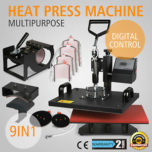 9in1 Digital Heat Press Transfer Sublimation Machine T shirt Hat Cap Great