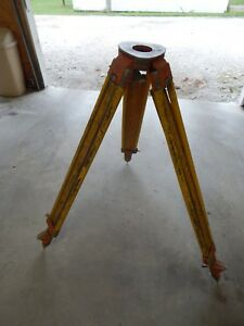 Vintage Wood Wild Heerbrugg Switzerland Laser Transit Level Grade Survey Tripod