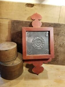 Primitive Antique Style Red Wall Shelf Punched Tin Decorative Design Late 1900 S
