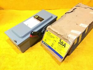 new Square D H221n 30 Amp 240 Vac 1 phase 2 pole Fusible Disconnect Switch