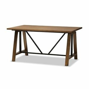 Nico Rustic Industrial Metal And Distressed Wood Adjustable Height Work Table