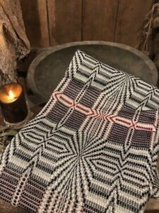 Primitive Throw Blanket Black Tan Cranberry Woven Blanket Cabin Early Style Fall