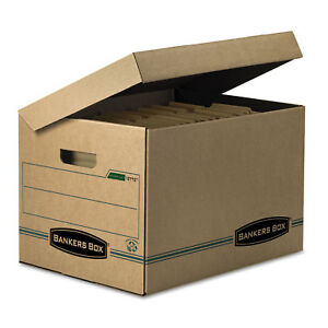 Bankers Box Stor file Storage Box Letter legal Attached Lid Kraft green 12