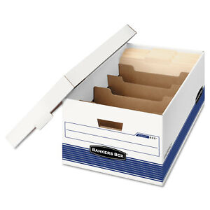 Bankers Box Stor file Extra Strength Storage Box Legal Locking Lid White blue 12