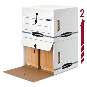 Bankers Box Side tab File Storage Box Letter 15 1 4 X 13 1 2 X 10 3 4 White blue