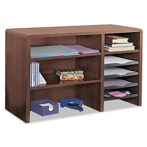 Safco Desktop Organizer Nine Sections 29 X 12 X 18 Mahogany 3692mh