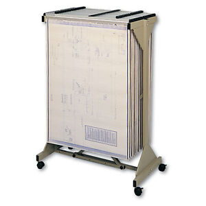 Safco Mobile Plan Center Sheet Rack 18 Hanging Clamps 43 3 4 X 20 1 2 X 51 Sand
