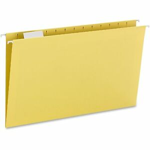 Smead Colored Hanging Folders 1 5 Tab Cut Lgl 25 bx Yellow 64169