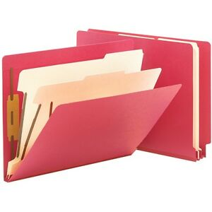 Smead Classification Folders 2 Dividers Letter 10 bx Red 26838