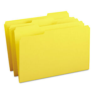 Smead File Folders 1 3 Cut Top Tab Legal Yellow 100 box 17943