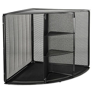 Rolodex Mesh Corner Desktop Shelf Five Sections 20 X 14 X 13 Black 62630