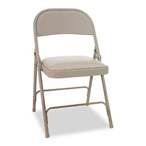 Alera Steel Folding Chair With Two brace Support Padded Seat Tan 4 carton