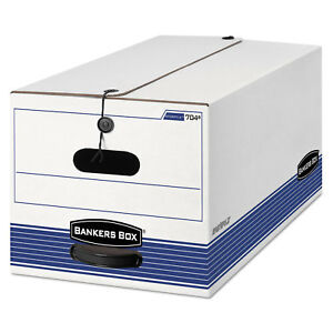 Bankers Box Stor file Storage Box Legal String And Button White blue 4 carton