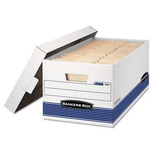 Bankers Box Stor file Storage Box Letter Locking Lid White blue 4 carton 0070104