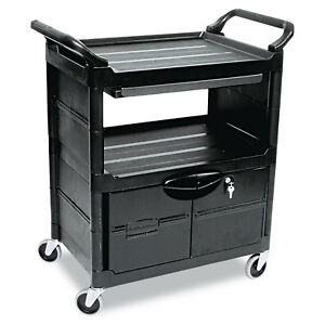 Rubbermaid Commercial Utility Cart With Locking Doors Two shelf 33 5 8w X 18 5