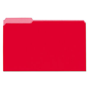 Universal Recycled Interior File Folders 1 3 Cut Top Tab Legal Red 100 box 15303
