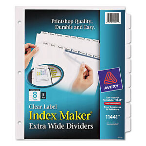 Avery Print Apply Clear Label Dividers W white Tabs 8 tab 11 1 4 X 9 1 4 5