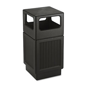 Safco Canmeleon Side open Receptacle Square Polyethylene 38gal Textured Black