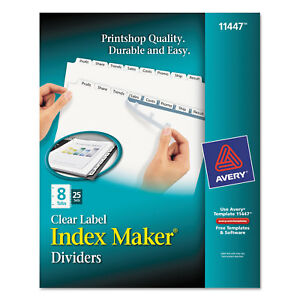 Avery Print Apply Clear Label Dividers W white Tabs 8 tab Letter 25 Sets 11447
