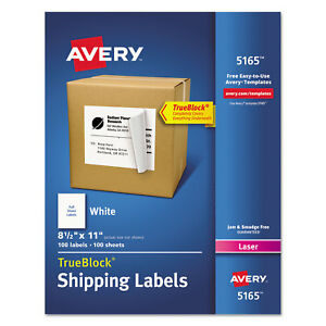 Avery Full sheet Labels With Trueblock Technology Laser 8 1 2 X 11 White 100 box