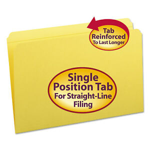 Smead File Folders Straight Cut Reinforced Top Tab Legal Yellow 100 box 17910