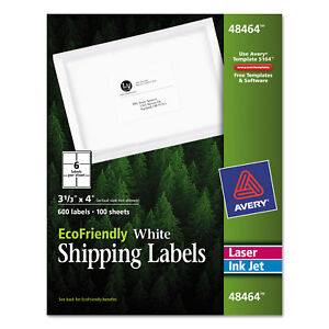 Avery Ecofriendly Laser inkjet Shipping Labels 3 1 3 X 4 White 600 pack 48464