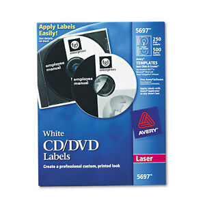 Avery Laser Cd Labels Matte White 250 pack 5697