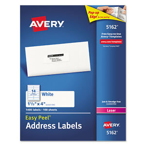 Avery Easy Peel Mailing Address Labels Laser 1 1 3 X 4 White 1400 box 5162