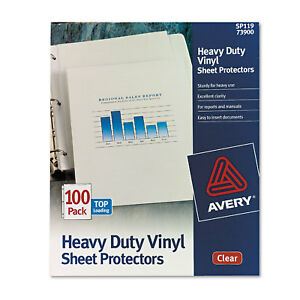 Avery Top load Vinyl Sheet Protectors Heavy Gauge Letter Clear 100 box 73900