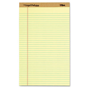 Tops The Legal Pad Ruled Perforated Pads Legal wide 8 1 2 X 14 Canary Dozen