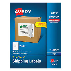 Avery Full sheet Labels With Trueblock Technology Inkjet 8 1 2 X 11 White 100