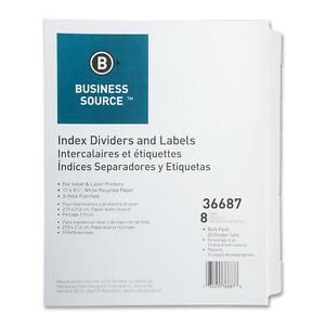 Business Source Index Dividers 3hp 8 tab 25 St pk 11 x8 1 2 White 36687