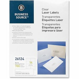 Business Source Laser Labels Mailing 1 1 3 x4 1 4 700 pk Clear 26124