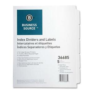 Business Source Index Dividers 3hp 5 tab 25 St pk 11 x8 1 2 White 36685