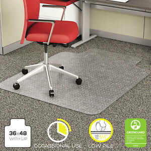 Deflecto Economat Occasional Use Chair Mat For Low Pile 36 X 48 W lip Clear