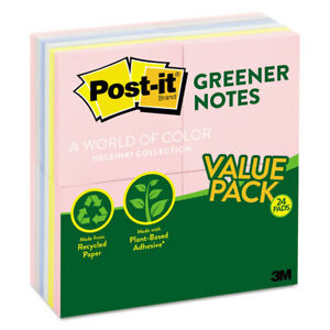 Post it Greener Notes Greener Note Pads 3 X 3 Assorted Helsinki Colors 100 sheet