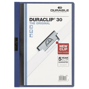 Durable Vinyl Duraclip Report Cover Letter Holds 30 Pages Clear dark Blue 220307