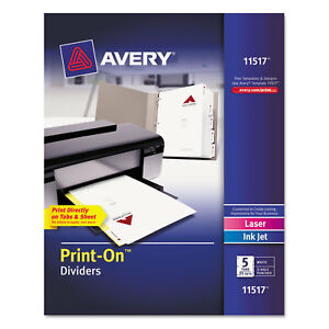 Avery Customizable Print on Dividers Letter 5 tabs set 25 Sets pack 11517