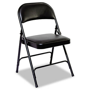 Alera Steel Folding Chair With Two brace Support Padded Back seat Graphite 4