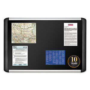 Mastervision Black Fabric Bulletin Board 24 X 36 Silver black Mvi030301