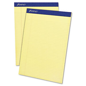 Ampad Perforated Writing Pad 8 1 2 X 11 3 4 Canary 50 Sheets Dozen 20222