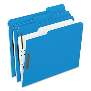 Pendaflex Colored Folders With Embossed Fasteners 1 3 Cut Letter Blue grid