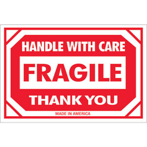 Tape Logic Labels fragile Handle With Care 2 X 3 Red white 500 roll Dl1053